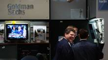 The Goldman Sachs booth on the floor of the New York Stock Exchange (Chris Hondros/2008 Getty Images)