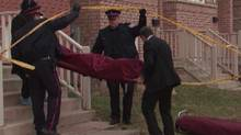 Police remove the body of a student from a home at 27 Aldwinckle Hts. near York University (CTV/CTV)