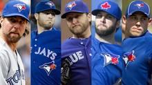 The Toronto Blue Jays' rotation to start the season: R.A. Dickey, Drew Hutchison, Mark Buehrle, Brandon Morrow and Dustin McGowan.