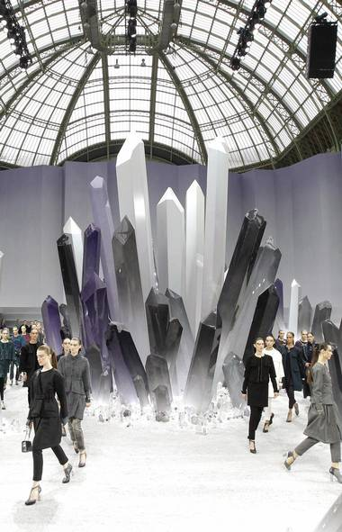 Last season, Karl Lagerfeld conceived a bleached underwater mise-en-scène for his Chanel ready-to-wear show. On Tuesday, gigantic stalactites appeared to have broken through the ground of the Grand Palais. It's as if he's taking us through his decadent interpretation of the Planet Earth documentary series. (Benoit Tessier / Reuters/Benoit Tessier / Reuters)