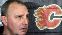 Calgary Flames' head coach Brent Sutter talks about the departure of his brother Darryl Sutter as executivevice-president and general manager of the team in Calgary on Tuesday Dec. 28, 2010. Jay Feaster will take over as acting GM. THE CANADIAN PRESS/Larry MacDougal (Larry MacDougal)