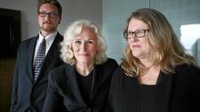 Actress Glenn Close (C) poses for a photograph with her sister Jessie Close and nephew Calen Pick at an international conference on eliminating mental health stigma in Ottawa. (Dave Chan for the Globe and Mail)