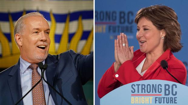 NDP Leader John Horgan and BC Liberal Leader Christy Clark.