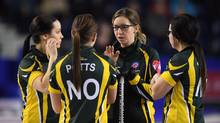 Northern Ontario skip Krista McCarville talks to her team as they take on Canada in the 3-4 page of the Scotties Tournament of Hearts in St. Catharines, Ont., on Saturday, Feb. 25, 2017. (Sean Kilpatrick/THE CANADIAN PRESS)