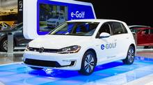 The second-generation Volkswagen e-Golf is displayed at teh 2017 Montreal auto show. (Volkswagen)