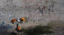 Don't forget the victims: A cross adorns a sidewalk in the drug-crime-afflicted city of Ciudad Juarez, Mexico, on Nov. 12, 2012. (REUTERS)