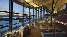 Each of the 20 rooms at the five-star Saffire Freycinet resort has a view of the Hazards mountains.