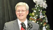 Prime Minister Stephen Harper speaks at a Toronto news conference on Dec. 16, 2011. (MIKE CASSESE/Mike Cassese/Reuters)