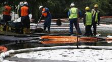 In this July 30, 2010 file photo, crews clean up oil from a ruptured pipeline owned by Enbridge Inc. near booms and absorbent materials where Talmadge Creek meets the Kalamazoo River. (Paul Sancya/AP)
