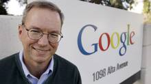 In this Jan. 19, 2011 file photo, Google Executive Chairman Eric Schmidt smiles outside of Google headquarters in Mountain View, Calif. (Paul Sakuma/AP)