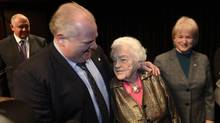 Rob Ford and Hazel McCallion are all smiles after sparring at the GTA mayors meeting. (Fred Lum/The Globe and Mail)
