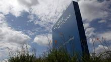 A sign is pictured outside Nortel's Carling Campus in Ottawa August 10, 2009. Nortel Networks said on Monday its chief executive, Mike Zafirovski, will step down immediately and its board will shrink from nine directors to three as the bankrupt telecom equipment maker works to sell off all of its major assets. REUTERS/Blair Gable (CANADA BUSINESS SCI TECH) (BLAIR GABLE/REUTERS)