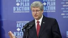 Prime Minister Stephen Harper speaks in Gimli, Man.,on Aug. 2, 2012. (John Woods/THE CANADIAN PRESS)