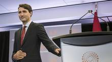 Prime Minister Justin Trudeau speaks to an audience at the Thompson Reuters building in Toronto on Friday October 7, 2016. (Christopher Katsarov/THE CANADIAN PRESS)