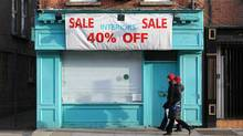 A closed store in Dublin, Dec. 6, 2011. Ireland's economy was the worst performer in the EU in the past quarter. (Peter Muhly/AFP/Getty Images/Peter Muhly/AFP/Getty Images)