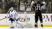 Pittsburgh Penguins center Evgeni Malkin celebrates his game winning goal (USA Today Sports)