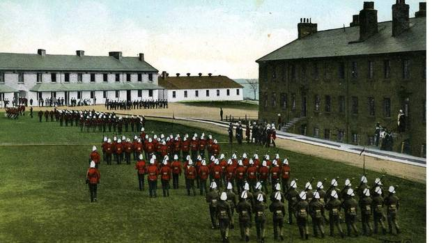 An 1880s postcard shows a British military parade at Stanley Barracks. Initially called New Fort, the barracks were built in the 1840s on what is now the Canadian National Exhibition grounds in Toronto. At the time, the fort was on the shores of Lake Ontario. The foundations of the white barracks buildings will be incorporated into the design for a new hotel. (Exhibition Place Archives)