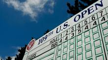 The leaderboard is seen during a preview day of the 109th U.S. Open on the Black Course at Bethpage State Park on June 14, 2009 in Farmingdale, New York. (Scott Halleran/2009 Getty Images)