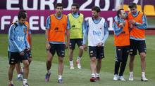 Spain's national soccer players attend a training session for the Euro 2012 in Gniewino June 20, 2012. (JUAN MEDINA/REUTERS)