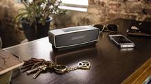 The Soundlink Mini can be paired with up to six different Bluetooth A2DP compatible devices. Thanks to a 3.5mm audio port built into the side of the Mini's chassis, it's also possible to connect older hardware such as an iPod classic to the speaker. No matter what you're connected to, Bose insists that you'll be able to pump seven hours of music through the Soundlink Mini's speakers. (We Are The Rhoads/Bose)