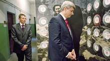 Prime Minister Stephen Harper tours a museum for political prisoners in Lviv, Ukraine, on Oct. 26, 2010. (Sean Kilpatrick/THE CANADIAN PRESS)