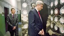 Prime Minister Stephen Harper tours a museum for political prisoners in Lviv, Ukraine, on Oct. 26, 2010. (Sean Kilpatrick/THE CANADIAN PRESS)