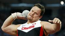 Canada's Dylan Armstrong won the shot put event at Monday's Harry Jerome Track Classic in Burnaby, B.C. In this file photo Armstrong competes in the men's shot put final at the London 2012 Olympic Games at the Olympic Stadium August 3, 2012. (KAI PFAFFENBACH/REUTERS)