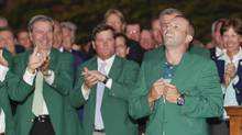 FILE PHOTO: Sergio Garcia smiles after putting on his green jacket after winning the Masters golf tournament in Augusta, Ga., on April 9, 2017. An auction house said the mystery surrounding an authentic green jacket from Augusta National Golf Club that was once bought at a Toronto thrift store likely stoked the enthusiasm of collectors and drove its sale at auction for more than US$139,000. (David J. Phillip/AP)