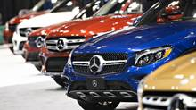 Mercedes-Benz AG vehicles sit on display at the Daimler AG booth during the Chicago Auto Show on Feb. 9, 2017. The change in policy at Mercedes-Benz is a breakthrough for AutoCanada, which is not permitted to own dealerships selling some of the leading brands in the country. (Daniel Acker/Bloomberg)