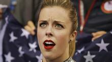 "Ashley Wagner of the United States reacts in the ""kiss and cry"" area during the Team Ladies Short Program at the Sochi 2014 Winter Olympics, February 8, 2014. (POOL/REUTERS)"