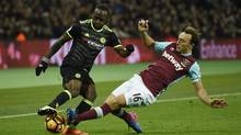 Chelsea's Victor Moses battles for control with West Ham United's Mark Noble during their Premier League in London Stadium. Chelsea's 2-1 win puts it 10 points ahead of second-placed Tottenham. (Tony O'Brien/REUTERS)
