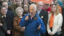 NDP Leader Jack Layton addresses a campaign rally in Saint John on April 25, 2011. (Andrew Vaughan/The Canadian Press)