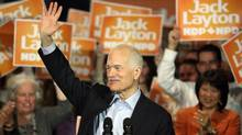 NDP Leader Jack Layton speaks to supporters at a campaign rally in Ottawa on April 13, 2011. (PATRICK DOYLE/REUTERS)