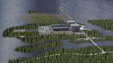 THIS IS THE NEWEST SKETCH rendering of Pacific NorthWest LNG's proposed export terminal on Lelu Island, near Prince Rupert in northwestern British Columbia. (Pacific NorthWest LNG.)