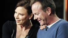 Kiefer Sutherland, executive producer and actor, speaks on the return of 24: Live Another Day with actress Mary Lynn Rajskub. (KEVORK DJANSEZIAN/REUTERS)