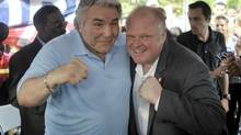 "Toronto mayor Rob Ford poses with boxing legend and addiction activist George Chuvalo at ""FordFest"" held in Thomson Memorial park in Scarborough, July 25, 2014. (J.P. MOCZULSKI FOR THE GLOBE AND MAIL)"