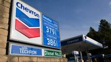 Chevron Corp. signage in displayed at a gas station in Berkeley, Calif. (David Paul Morris/Bloomberg)