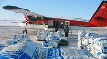 Supplies are unloaded at the Baffinland Iron Mines' Mary River Camp on Baffin Island (Equicom Group)
