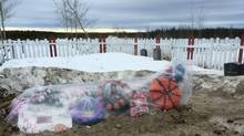 Grave site for Finola Muswaggon, who died at Cross lake Manitoba Reserve in March 2016. She was 14. (Ann Mary for The Globe and Mail)