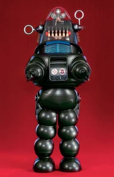 10. Robby the Robot, Forbidden Planet (1956) This cheesy 50s sci-fi (which stars an impossibly young Leslie Nielsen when he was an ostensibly serious leading man) was one of the first movies to feature an actual robot character, with a personality and significant dialogue. His creaky, clanging tin body became iconic, and was used as a model for bots in other important fantasies, like Lost in Space.