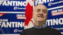 Julian Fantino arrives at his election night party after winning the by-election in the Vaughan riding. (Chris Young/Chris Young/The Canadian Press)