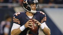 FILE - In this Aug. 8, 2014, file photo, Chicago Bears quarterback Jordan Palmer looks for a receiver in the first half of an NFL preseason football game against the Philadelphia Eagles in Chicago. (Charles Rex Arbogast/AP)