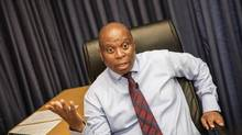 Herman Mashaba, talking politics and jobs in his office on Sept. 7, has become the first mayor of Johannesburg not aligned with the African National Congress since the end of apartheid. (GIANLUIGI GUERCIA/AFP/Getty Images)
