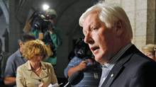 Interim Liberal Leader Bob Rae speaks to reporters in the foyer of the House of Commons on Aug. 30, 2011. (Sean Kilpatrick/THE CANADIAN PRESS)