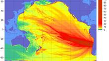 """This image obtained from the National Oceanic and Atmospheric Administration (NOAA) on February 27, 2010 shows a model of the preliminary forecast of the tsunami triggered by the 8.8 eartquake in Chile. The model shows waves of up to one meter travelling across the Pacific Ocean. Tsunami waves unleashed by a huge earthquake in Chile were moving across the entire Pacific Ocean Saturday and will peter out in Japan with foot-high waves, a meteorologist said. """"We could be looking at an all-day event,"""" US National Weather Service meteorologist Eric Lau told AFP. """"It will stop once it hits the landmasses on the other side of the Pacific, in Asia. The wave is spread out across the entire body of water in the Pacific."""" (-/AFP/Getty Images/ The Globe and Mail)"""