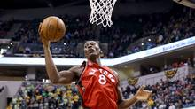 Bismack Biyombo of the Toronto Raptors grabs a rebound against the Indiana Pacers during a game on March 17, 2016 in Indianapolis. (Andy Lyons/Getty Images)