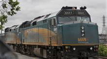 A Via Rail train sits in the station yard in Halifax on Thursday, June 13, 2013. (Andrew Vaughan/THE CANADIAN PRESS)