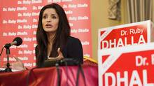 Liberal incumbent Ruby Dhalla holds a press conference in her riding of Brampton-Springdale on April 27, 2011. (Aaron Vincent Elkaim/The Canadian Press/Aaron Vincent Elkaim/The Canadian Press)