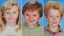 Kaitlynne Schoenborn, 10; Max Schoenborn, 8; and Cordon Schoenborn, 5, are shown in a composite image taken from framed picture at the memorial wall in Merritt, B.C on Thursday, April 10, 2008.