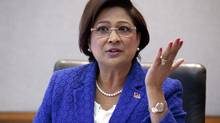 Kamla Persad-Bissessar, the Prime Minister of the Republic of Trinidad and Tobago, speaks to The Globe and Mail's editorial board. (Moe Doiron/The Globe and Mail)
